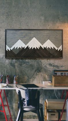 This mountain wall art will make a beautiful centerpiece. This mountain wood wall art will add a refined touch to the interior at your home. Due to the natural wood colors this reclaimed wood wall hanging will fit seamlessly with any interior! Reclaimed Wood Paneling, Reclaimed Wood Wall Art, Rustic Wood Walls, Wooden Wall Art, Diy Wall Art, Wooden Walls, Wall Wood, Salvaged Wood, Wood Pallets