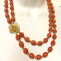 """Pretty Vintage Deep Coral & Rose Flower Necklace This necklace was a statement piece before statement necklace became """"in style"""". 1970's  double strand necklace with """"gold"""" rose closure. An amazing unique find!!! 22"""" Fashion Jewelry Jewelry Necklaces"""