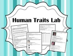 Teach your students the basics of genotypes and phenotypes by examining human traits that are determined by simple Mendelian dominance.  Traits in this lab include tongue rolling, widow's peak, mid-digital hair, the ability to taste PTC, and more!  11 traits in all!Students will love the easy explanations and pictures for each trait!