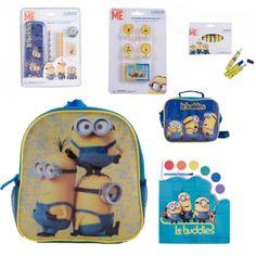 Ghiozdan gradinita Minions + rechizite scolare Minions, Suitcase, Lunch Box, Disney, Character, The Minions, Bento Box, Minions Love, Briefcase