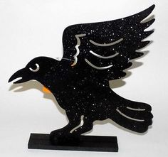 ⏳PRICE REDUCED 4⃣▪9⃣9⃣! Get in time for HALLOWEEN. ⌚Last One Left  @salesfortoday FOLLOW Also check out www.stores.ebay.com/jenscreationstx  Black Crow Halloween Tabletop Decoration - Sparkle Glitter Party Decor
