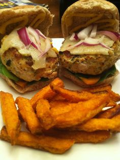 Tonight's Dinner:  Chicken Burger Sliders with Sweet Potato Fries!!   *Seasoned my burgers with Mrs. Dash Chipotle & Pesto.  Topped with Spinach, Orange Bell Pepper, Avocado, Red Onion & Pepper Jack on Wheat Sliders*