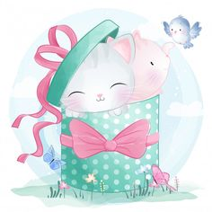 Cute little kitty sitting inside gift box PNG and Vector Cute Animal Illustration, Pop Art Illustration, Cute Pink Background, Background Patterns, Pink Hello Kitty, Little Kitty, Baby Animal Drawings, Cute Drawings, Hello Kitty Backgrounds