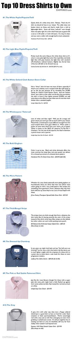The Top 10 Types of Dress Shirts to Own #MensStyle #MensFashion #Infographic