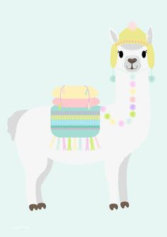 Vrolijk de kinderkamer op met deze mooie poster van Designed4kids met een kleurrijke lama als blikvanger. Alpacas, Cute Animal Illustration, Illustration Art, Llamas Animal, Llama Drawing, Cactus Stickers, Cute Llama, Kids Prints, Rainbow Unicorn