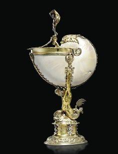 COUPE NAUTILE ET MONTURE EN ARGENT ET VERMEIL German early 17th century