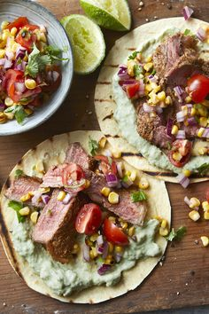 Think you can't eat tacos and lose weight? A little goes a long way in these delicious steak tacos. Each serving provides 600 kcal, protein, carbohydrate, fat, fibre. Steak Recipes, Low Carb Recipes, Healthy Recipes, Healthy Dinners, Healthy Food, Healthy Eating, Brunch Recipes, Dinner Recipes, Dinner Ideas