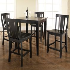 Crosley 5-Piece Pub Dining Set with Cabriole Leg and Shield Back Stools | from hayneedle.com