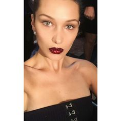 Here's How To Get Bella Hadid's Glitter Lips For Yourself ❤ liked on Polyvore featuring beauty products
