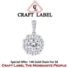 """1.60 Ct Round Brilliant 14K White Gold Solitaire Without Chain """"Mother\'s Day Gift"""". Starting at $1"""