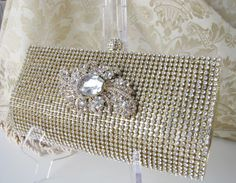 Rich Gold Satin Fabric Wedding Bag Clutch Formal Evening Bag with loads of Austrian Crystals by weddingswithflair on Etsy
