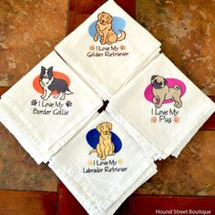 Embroidered I Love My Dog Tea Towels by HoundStreetBoutique