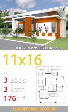 Home Design with 3 bedrooms slop roof - House Plans Brick House Designs, Brick House Plans, House Layout Plans, House Plans One Story, House Layouts, Story House, Modern Bungalow House, Modern House Plans, Small House Plans