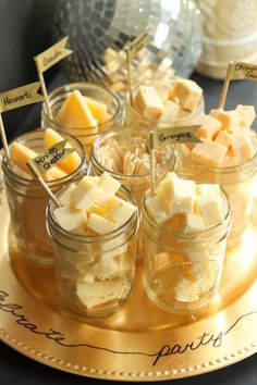 Mason jar cheese tasting tray  //  Fun idea for a New Years party