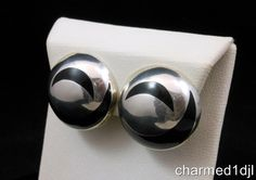 TAXCO Black Onyx Inlay Crescent 925 Sterling Silver Round Domed Clip Earrings #Taxco SOLD