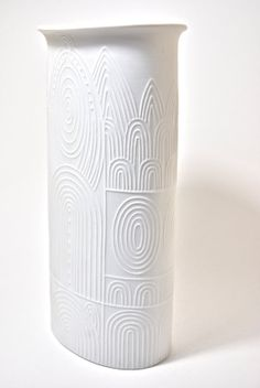 Reserved Mid Century West German Matte White Porcelain Art Vase by Cuno Fischer for Hutschenreuther