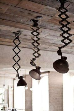 industrial—unusual pendant lighting and reclaimed wood ceiling. Again another extendible and flexible light design. Vintage Industrial Lighting, Industrial Interiors, Industrial House, Rustic Industrial, Industrial Design, Industrial Furniture, Deco Luminaire, Luminaire Design, Blitz Design