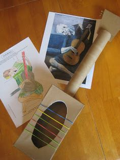 Relentlessly Fun, Deceptively Educational: Making a Picasso-inspired Guitar Music For Kids, Art For Kids, Crafts For Kids, Preschool Music, Preschool Crafts, Kindergarten Activities, Cardboard Guitar, Picasso Art, Picasso Blue