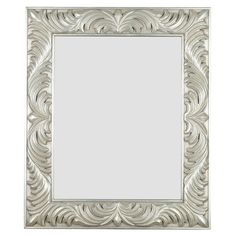 Add an elegant touch to your master suite or powder room with this classic wall mirror, showcasing an antique silver-finished frame and scrolling laurel leaf...