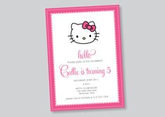 hello kitty party invitation  custom by scallopedacorn on Etsy, $15.00