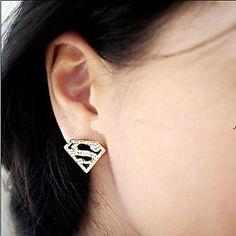 EUR € 1.43 - Superman Logo Triangle Geometry S Word Stud Oorbellen, Gratis Verzending voor alle Gadgets!