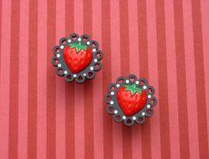 #plugs #jewelry #strawberry #fruit #food #cute #sweet #hearts #rhinestones #sparkle