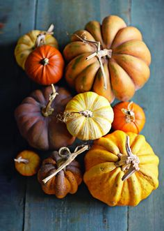 Fall colors and flavors-squash and pumpkins.
