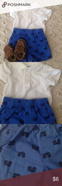 2 Piece Baby Boy Outfit Shorts with dump trucks and white polo Old Navy Matching Sets