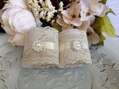 Ivory, Pearl and Lace Napkin Holders for Barn, Beach or Country Weddings, Bridal Showers/Wedding Table Decor - Set of 25 by TuttiRoseDesigns on Etsy https://www.etsy.com/listing/232153324/ivory-pearl-and-lace-napkin-holders-for