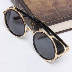 Vintage Retro Rond Lunettes de Soleil UV400 Sunglasses Steampunk Hommes  Femmes 03f8fc9f6eb3