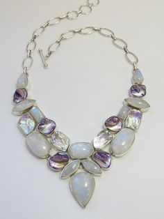 Moonstone, Rainbow Topaz, and Pearl Necklace - Andrea Jaye Collection