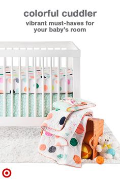 Go bold and bright for your baby's room with an Oh Joy! Dots Baby Bedding Collection. This nursery bedding collection has everything new parents need to put together a fun, bright and playful nursery, including baby bedding, swaddle blankets and nursery decor. It combines whimsical prints, fun details and vibrant colors. This collection lets you mix and match with pieces from other Oh Joy! nursery collections to easily create a look all your own.