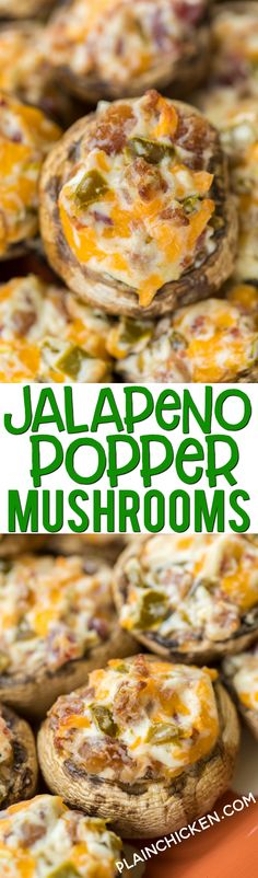 Jalapeño Popper Mushrooms ~ stuffed with cream cheese, garlic, cheddar cheese, bacon and jalapeños and can prep ahead of time and refrigerate until ready to bake! #partyfood #mushrooms #jalapenopoppers #lowcarb