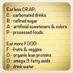 Fitness motivation: Eat Less Crap - Workout Obsession Get Healthy, Healthy Tips, Healthy Habits, Healthy Choices, Eating Healthy, Eating Clean, Healthy Weight, Healthy Recipes, Easy Recipes