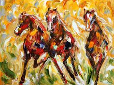 "Wild Horses Equine 36"" x 48"" Gallery Quality Giclee Print on Museum Archival canvas of Original painting by Karen Tarlton fine art. $220.00, via Etsy."