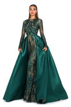 General Green X-line Dress Elegant Polyester Evening Dresses Round Neckline Lace Long Sleeve Maxi Fall S Winter M L XL XXL Solid Dress color:Dark Green Shrug For Dresses, Satin Dresses, Elegant Dresses, Day Dresses, Prom Dresses, Formal Dresses, Dresses Online, Emerald Gown, Emerald Dresses