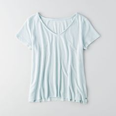 AE V-Neck Raw Edge T-Shirt Mint ($25) ❤ liked on Polyvore featuring tops, t-shirts, green, american eagle outfitters, american eagle outfitters t shirts, v neck tops, vneck t shirts and v neck tee