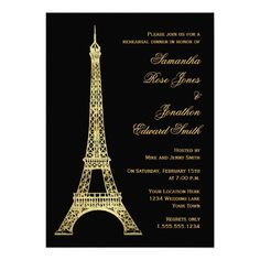 Discount DealsParisian Eiffel Tower Black Gold Rehearsal Dinner Custom Invitationswe are given they also recommend where is the best to buy