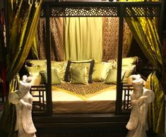 Handcrafted Indian canopy beds made of sesame and rose wood in Queen and King size. Decorate your four poster bed with our sari curtains. Bedroom Sets, Bedroom Decor, Bedroom Swing, Bedroom 2017, Master Bedroom, Bedroom Themes, Bedroom Inspo, Bedroom Inspiration, Asian Bedroom