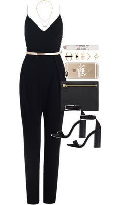 Outfit for prom by ferned featuring a gold initial necklace Playsuit romper, 640 AUD / Zara black ankle strap sandals, 26 AUD / Tom Ford full grain leather handbag, 730 AUD / Kacey K Fine Jewelry gold initial necklace, 995 AUD / Forever 21 cutout...