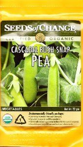 Seeds of Change 01793 Cascadia Bush Snap Pea by Seeds of Change. $2.58. Hermetically sealed package that is re-sealable gives longer life and higher germination rates. 100-percent certified organic seeds grown in the usa for over 20-year. Independently tested for high germination rates and purity, meets or exceeds federal standards. Free of gmo's (genetically modified organisms), chemicals and pesticides. Seeds of change contributes 1-percent of net sales to advance the...