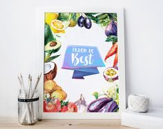 Fresh is Best Vegetables Digital Print Wall Decor Watercolor Fruits Healthy Living Eat Good Dood Motivation Poster Inspiration (2.50 USD) by Aquartis