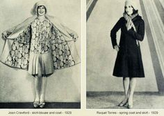 1929 Spring Wardrobe -The lovely Joan Crawford, is shown above left. This is a smart, three piece model, cut along somewhat fitted lines. The skirt and coat are silver-tone basket-weave. The skirt is pleated and the lining of the coat matches the gay silk blouse.Raquel Torres wears this chic Spring coat and its fitted bodice and flared skirt accentuate her slenderness. The coat has a lining of silk satin.