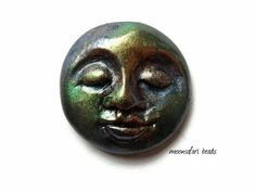 Moon face cabochon Buddha handmade polymer clay by MoonsafariBeads, $6.50