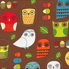 Suzy Ultman Critter Community - Owls, Retro - $10.50 per yard