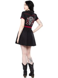 "Women's+""Johnny+Cash+Burning+Thing""+Hellbilly+Dress+by+Sourpuss+Clothing+(Black)"