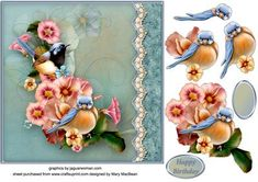 Birds in the Flowers Lacy Border Card Front on Craftsuprint - View Now!