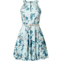 Closet Blue Keyhole Front Floral Print Belted Dress