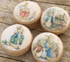 Pre-cut and perfect for Macarons, chocolate covered Oreos, baby showers and birthdays Peter Rabbit Party, Peter Rabbit Cake, Peter Rabbit Nursery, Peter Rabbit Birthday, Mini Cupcakes, Coelho Peter, Beatrix Potter Cake, Chocolate Covered Oreos, Macarons Chocolate