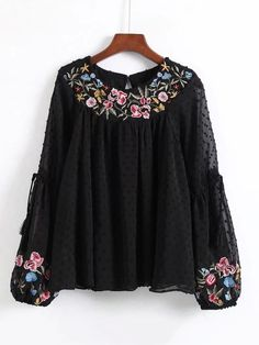 Dot Textured Embroidered Blouse -SheIn(Sheinside) buy now Embroidery Fashion, Embroidery Dress, Floral Embroidery, Embroidery Designs, Embroidery Stitches, Casual Tops For Women, Blouses For Women, Trendy Dresses, Nice Dresses